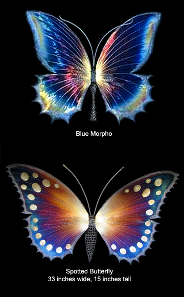 Blue Morpho-2 (above) and Spotted Butterfly (below), 33 inches wide, 15 inches tall